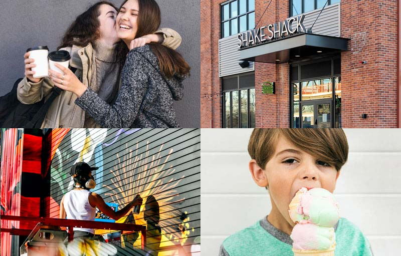 a grid of four images including two friends drinking coffee, a Shake Shack facade, an artist painting a public mural, and a child eating ice cream