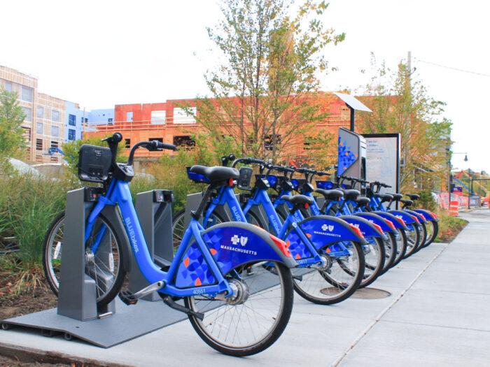 Bike Rack Full of Blue Bikes for Rent Massachusetts Blue Cross Blue Shield