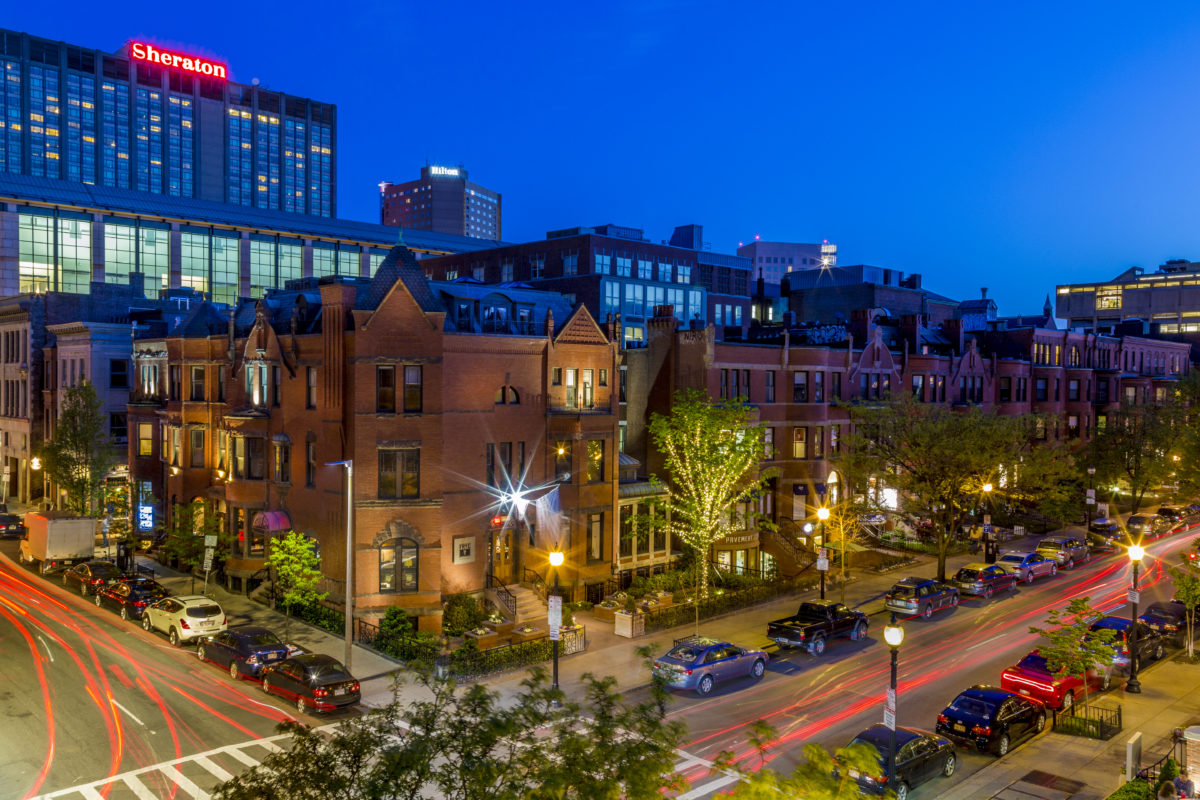 Night view of 284 Newbury Street from above